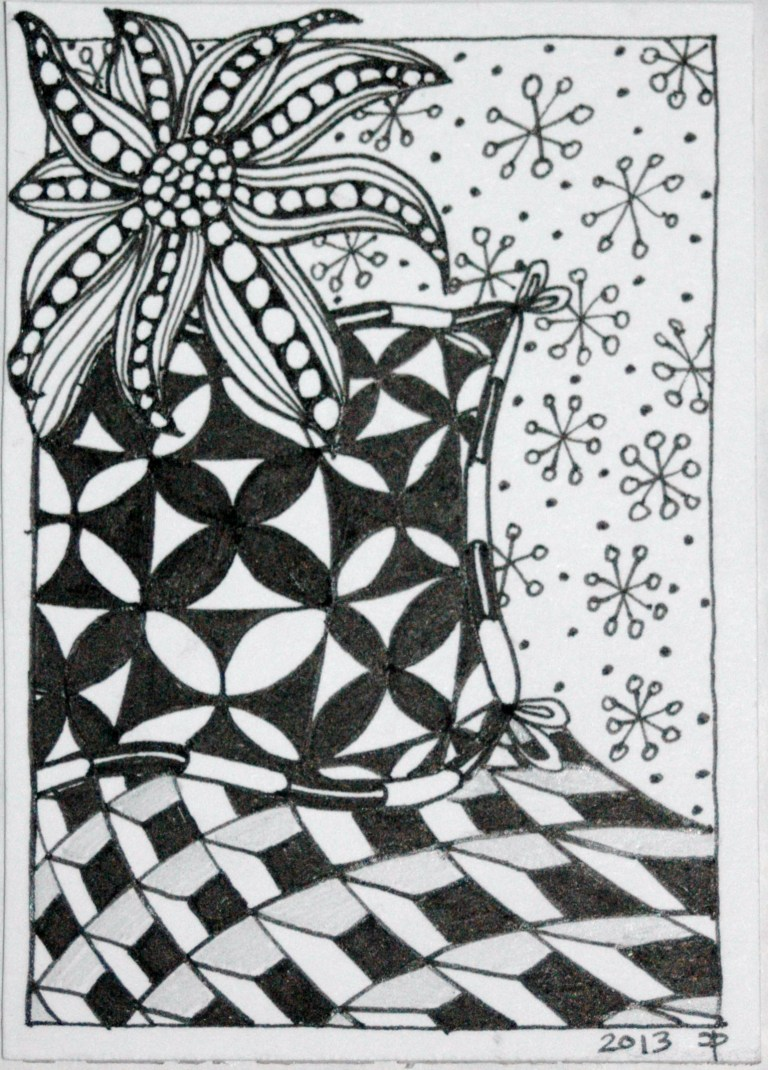 Zentangle-inspired ATC that I have swapped