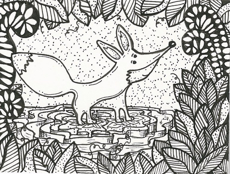 Fox ATC in Zentangle-inspired style